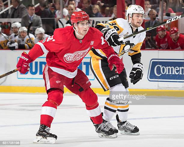 Dylan Larkin of the Detroit Red Wings battles for position with Tom Kuhnhackl of the Pittsburgh Penguins during an NHL game at Joe Louis Arena on...