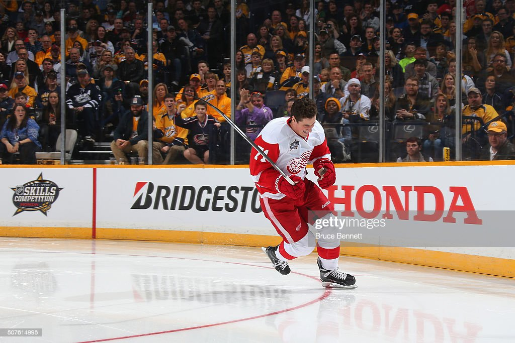 Dylan Larkin of the Detroit Red Wings celebrates after skating for a record breaking 12894 second after competing in the Bridgestone NHL Fastest...