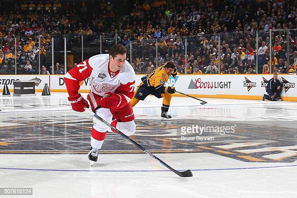 Dylan Larkin of the Detroit Red Wings competes in the Bridgestone NHL Fastest Skater during the 2016 Honda NHL AllStar Skill Competition at...