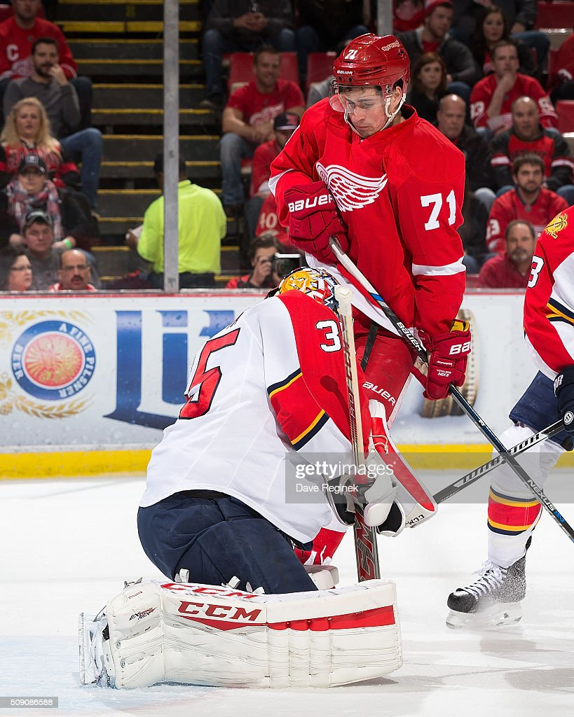 <a gi-track='captionPersonalityLinkClicked' href=/galleries/search?phrase=Dylan+Larkin&family=editorial&specificpeople=12867695 ng-click='$event.stopPropagation()'>Dylan Larkin</a> #71 of the Detroit Red Wings crashes into goaltender <a gi-track='captionPersonalityLinkClicked' href=/galleries/search?phrase=Al+Montoya&family=editorial&specificpeople=213916 ng-click='$event.stopPropagation()'>Al Montoya</a> #35 of the Florida Panthers during an NHL game at Joe Louis Arena on February 8, 2016 in Detroit, Michigan.