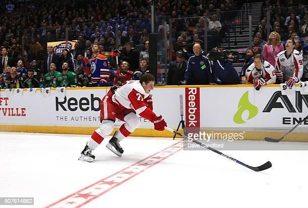 Dylan Larkin of the Detroit Red Wings crosses the finish line to win the Bridgestone NHL Fastest Skater with a time of 12894 seconds during 2016...