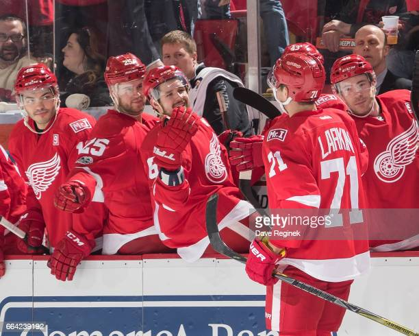 Dylan Larkin of the Detroit Red Wings pounds gloves with teammates on the bench following his second period goal during an NHL game against the...