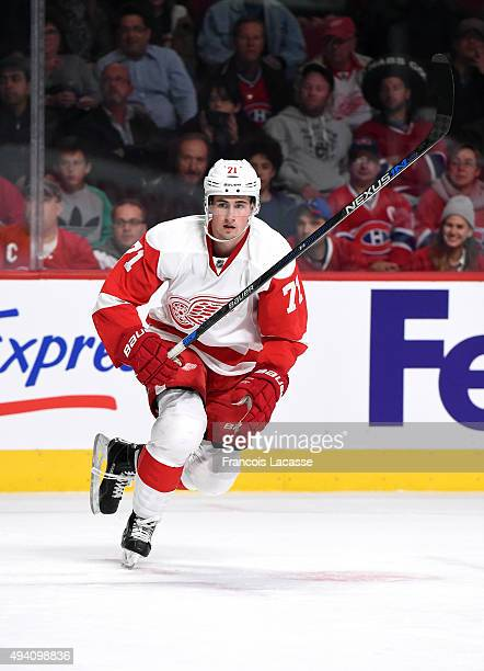 Dylan Larkin of the Detroit Red Wings skates against the Montreal Canadiens in the NHL game at the Bell Centre on October 17 2015 in Montreal Quebec...