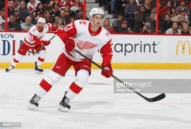 Dylan Larkin of the Detroit Red Wings skates against the Ottawa Senators at Canadian Tire Centre on October 7 2017 in Ottawa Ontario Canada