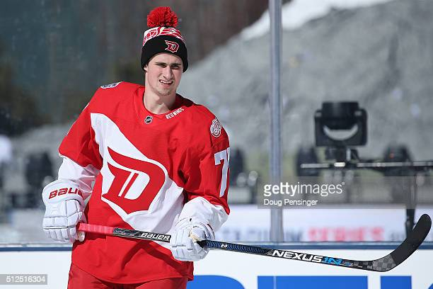Dylan Larkin of the Detroit Red Wings skates during a practice session on the eve of their game versus the Colorado Avalanche at the 2016 Coors Light...