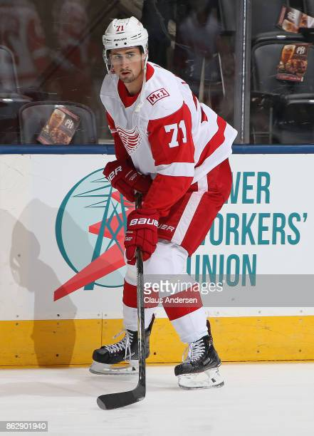 Dylan Larkin of the Detroit Red Wings skates during the warmup prior to playing against the Toronto Maple Leafs in an NHL game at the Air Canada...