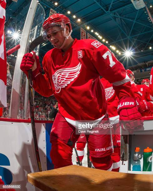 Dylan Larkin of the Detroit Red Wings skates off the ice after an NHL game against the Colorado Avalanche at Joe Louis Arena on March 18 2017 in...