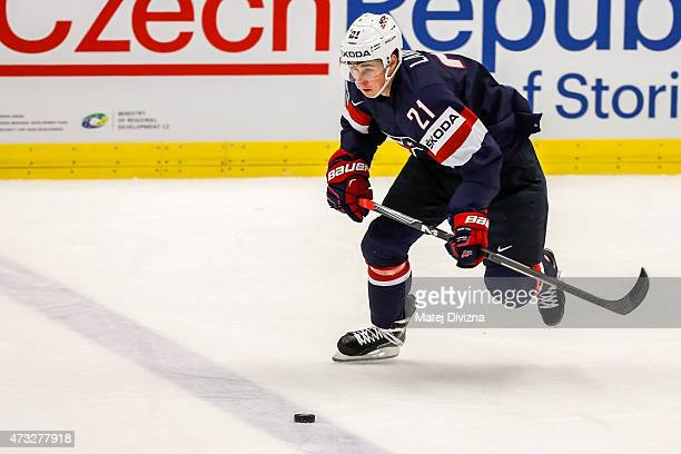 Dylan Larkin of USA in action during the IIHF World Championship quaterfinal match between USA and Switzerland at CEZ Arena on May 14 2015 in Ostrava...