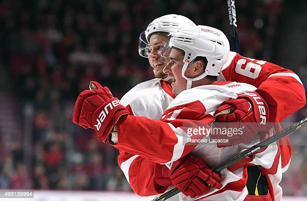 Dylan Larkin the Detroit Red Wings celebrates after scoring a goal against the Montreal Canadiens in the NHL game at the Bell Centre on October 17...