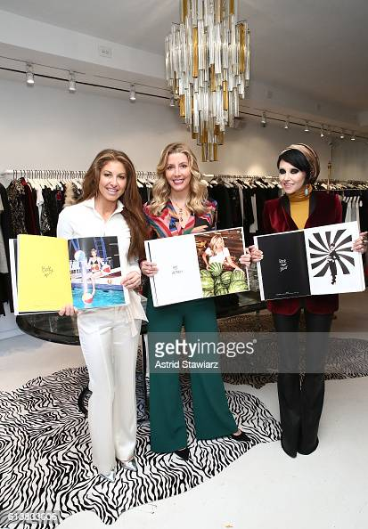 Dylan Lauren Sara Blakely and CEO Creative Director of Alice Olivia Stacey Bendet pose for a photo together as Sara Blakely and Alice Olivia...