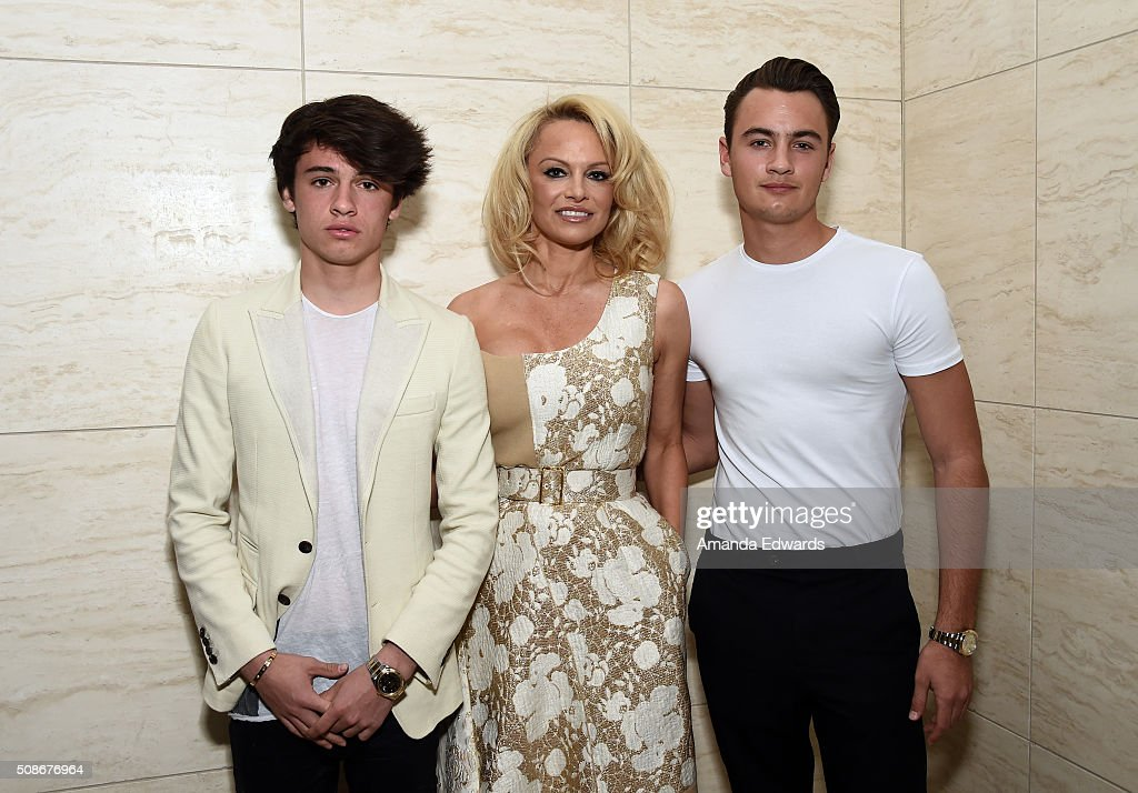 Dylan Lee, actress Pamela Anderson and Brandon Lee attend the Los Angeles special screening and reception of 'Connected' at Milk Studios on February 5, 2016 in Los Angeles, California.