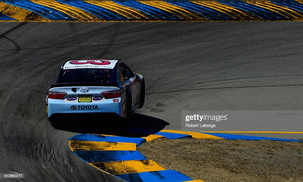Dylan Lupton, driver of the #93 Bell Bros Plumbing, Heat & Air/Elk Grove Toyota, practices for the NASCAR Sprint Cup Series Toyota/Save Mart 350 at Sonoma Raceway on June 24, 2016 in Sonoma, California.
