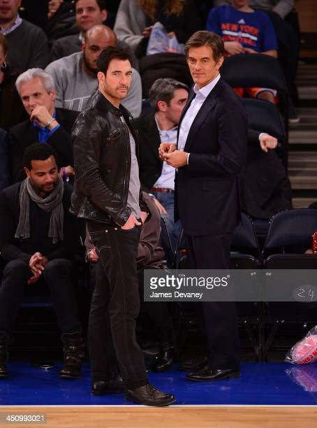 Dylan McDermott and Mehmet Oz attend the Indiana Pacers vs New York Knicks game at Madison Square Garden on November 20 2013 in New York City
