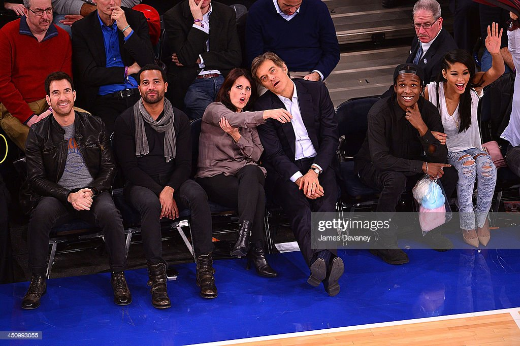 Dylan McDermott, guests, Mehmet Oz, A$AP Rocky and Chanel Iman attend the Indiana Pacers vs New York Knicks game at Madison Square Garden on November 20, 2013 in New York City.
