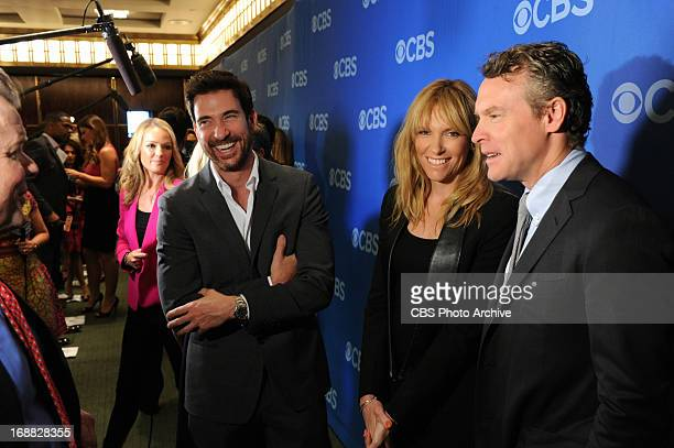 Dylan McDermott Toni Collette and Tate Donovan of HOSTAGES on the red carpet at the 2013 CBS Upfront presentation at Carnegie Hall on Wednesday May 15