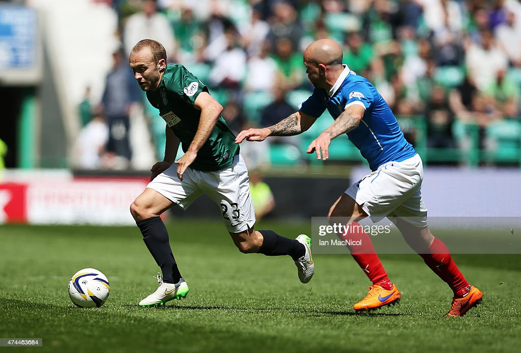 Dylan McGeouch of Hibernian competes with Nicky Law of Rangers during the Scottish Championship play off semi final, second leg match between Hibernian and Rangers at Easter Road on May 23, 2015 in Edinburgh, Scotland.