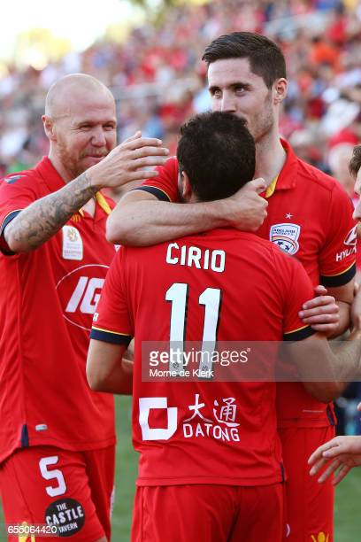 Dylan McGowan of Adelaide United celebrates after Sergio Cirio scored a goal to win the round 23 ALeague match between Adelaide United and the...