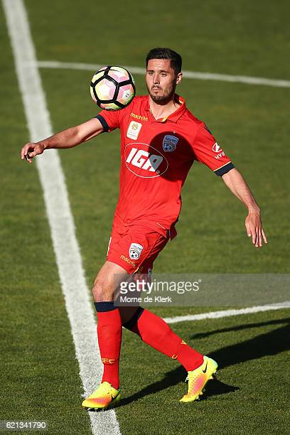 Dylan McGowan of Adelaide United wins the ball during the round five ALeague match between Adelaide United and the Central Coast Mariners at Coopers...