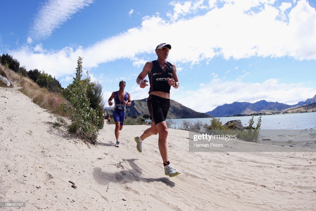 Dylan McNeice of New Zealand and Jamie Whyte of Auckland compete during Challenge Wanaka on January 19, 2013 in Wanaka, New Zealand.