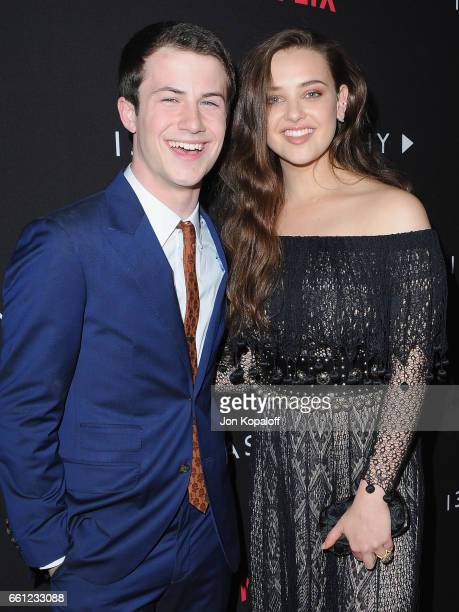 Dylan Minnette and Katherine Langford arrive at the Los Angeles Premiere of Netflix's '13 Reasons Why' at Paramount Pictures on March 30 2017 in Los...