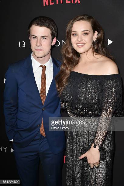 Dylan Minnette and Katherine Langford attend the premiere of Netflix's '13 Reasons Why' at Paramount Pictures on March 30 2017 in Los Angeles...