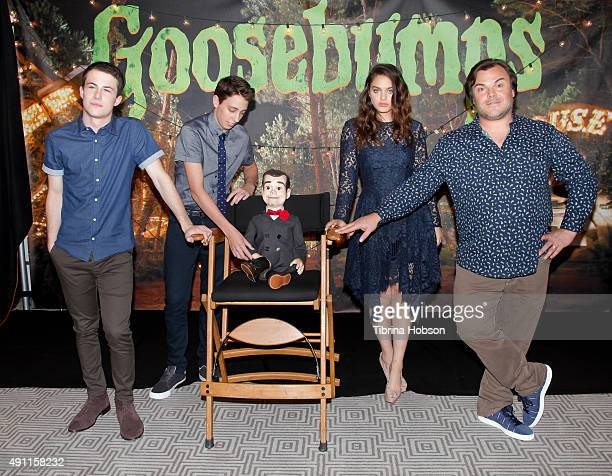 Dylan Minnette Ryan Lee Slappy the Dummy Jack Black and Odeya Rush attend Sony Pictures photo call for 'Goosebumps' at The London West Hollywood on...