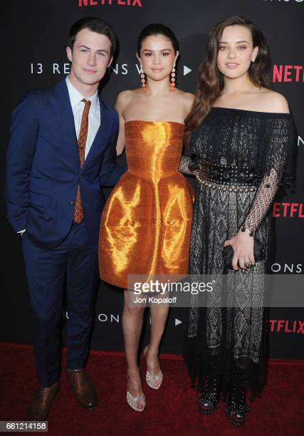 Dylan Minnette Selena Gomez and Katherine Langford arrive at the Los Angeles Premiere of Netflix's '13 Reasons Why' at Paramount Pictures on March 30...