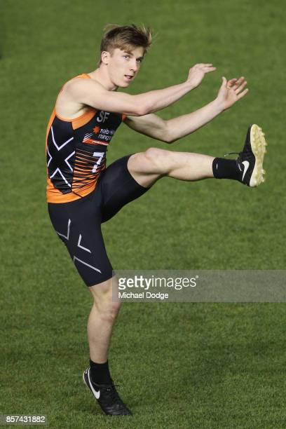 Dylan Moore from Eastern Rangers kicks the ball at goal during the AFLW Draft Combine at Etihad Stadium on October 4 2017 in Melbourne Australia