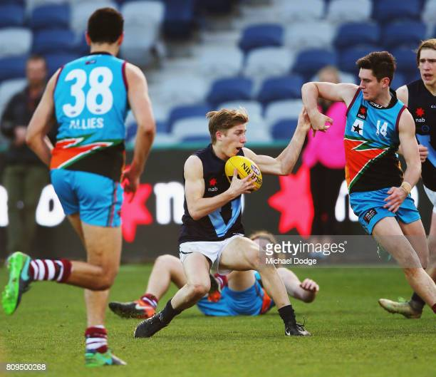 Dylan Moore of Vic Metro competes for the ball during the U18 AFL Championships match between Vic Metro and the Allies at Simonds Stadium on July 5...