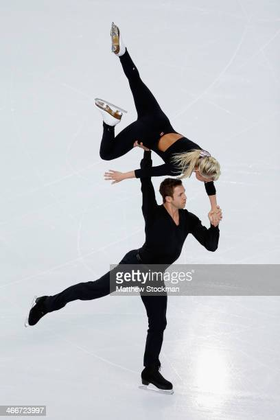 Dylan Moscovitch and Kirsten Moore Towers of Canada practice during Figure Skating Pairs training ahead of the Sochi 2014 Winter Olympics at Iceberg...