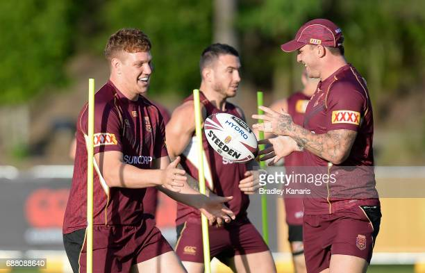 Dylan Napa and Josh McGuire perform a drill during a Queensland Maroons State of Origin training session at InterContinental Sanctuary Cove Resort...