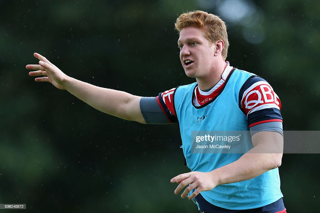 Dylan Napa of the Roosters warms up during a Sydney Roosters NRL training session at Moore Park on June 1, 2016 in Sydney, Australia.