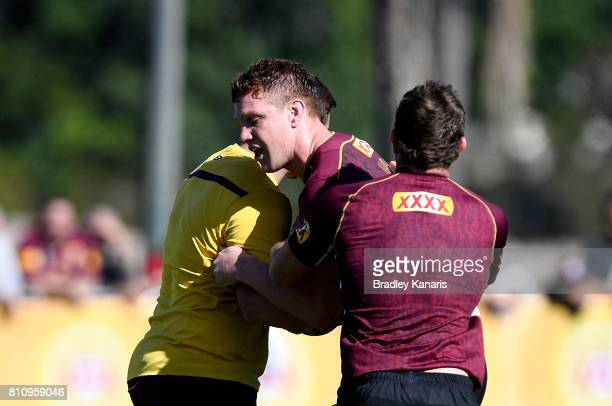Dylan Napa takes on the defence during a Queensland Maroons State of Origin training session at Sanctuary Cove on July 9 2017 in Brisbane Australia
