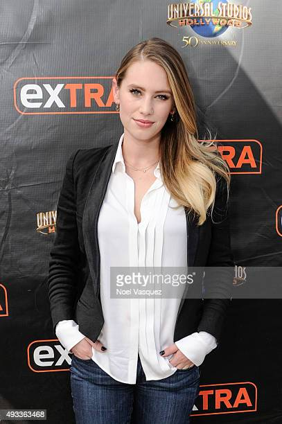 Dylan Penn visits 'Extra' at Universal Studios Hollywood on October 19 2015 in Universal City California