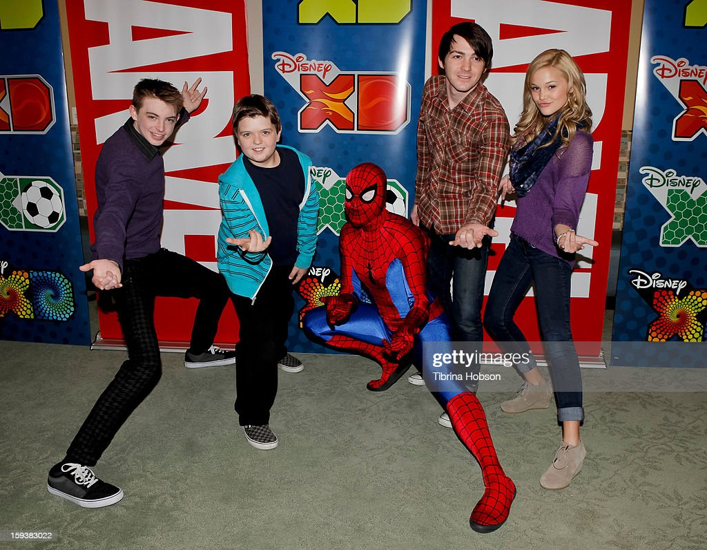 Dylan Riley Snyder, Cole Jensen, Spiderman, <a gi-track='captionPersonalityLinkClicked' href=/galleries/search?phrase=Drake+Bell&family=editorial&specificpeople=215051 ng-click='$event.stopPropagation()'>Drake Bell</a> and <a gi-track='captionPersonalityLinkClicked' href=/galleries/search?phrase=Olivia+Holt&family=editorial&specificpeople=7563645 ng-click='$event.stopPropagation()'>Olivia Holt</a> attend 'Reading With: Marvel Comics Close-Up' kick-off event at the Burbank Public Library on January 12, 2013 in Burbank, California.