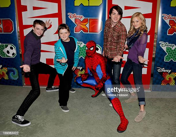 Dylan Riley Snyder Cole Jensen Spiderman Drake Bell and Olivia Holt attend 'Reading With Marvel Comics CloseUp' kickoff event at the Burbank Public...