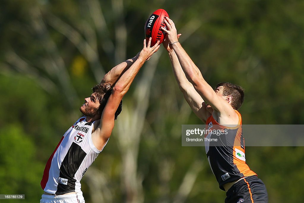Dylan Roberton of the Saints competes with Jeremy Cameron of the Giants during the AFL practice match between the Greater Western Sydney Giants and the St Kilda Saints at Blacktown International Sportspark on March 16, 2013 in Sydney, Australia.