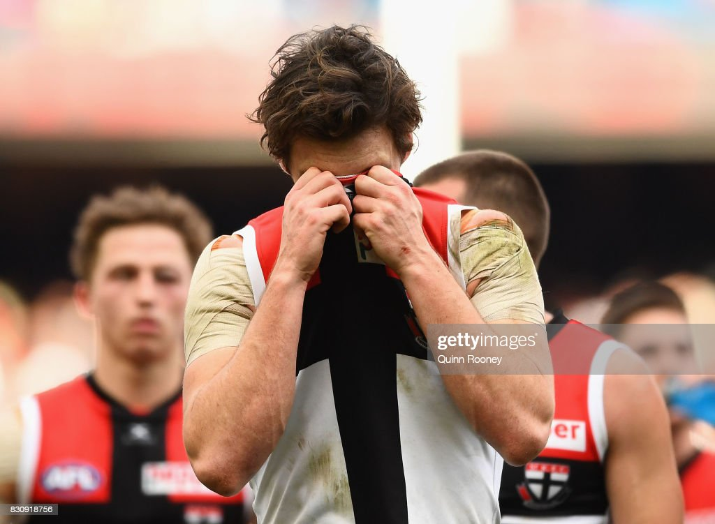 Dylan Roberton of the Saints looks dejected after losing the round 21 AFL match between the Melbourne Demons and the St Kilda Saints at Melbourne Cricket Ground on August 13, 2017 in Melbourne, Australia.