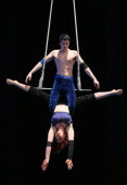 Dylan Rodriguez and Angelique Ross perform a Dance Trapeze Duet during a National Institute of Circus Arts media call for the production of 'One...