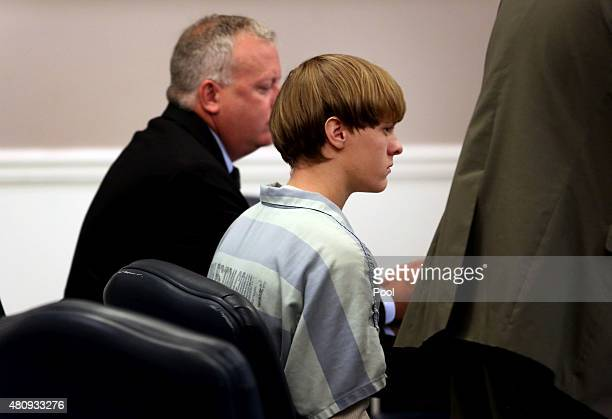 Dylan Roof the suspect in the mass shooting that left nine dead in a Charleston church last month appears in court July 18 2015 in Charleston South...