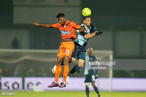 Dylan Saint Louis of Laval and Jean Pascal Fontaine of Le Havre during the Ligue 2 match between Stade Lavallois and Le Havre AC on November 4 2016...
