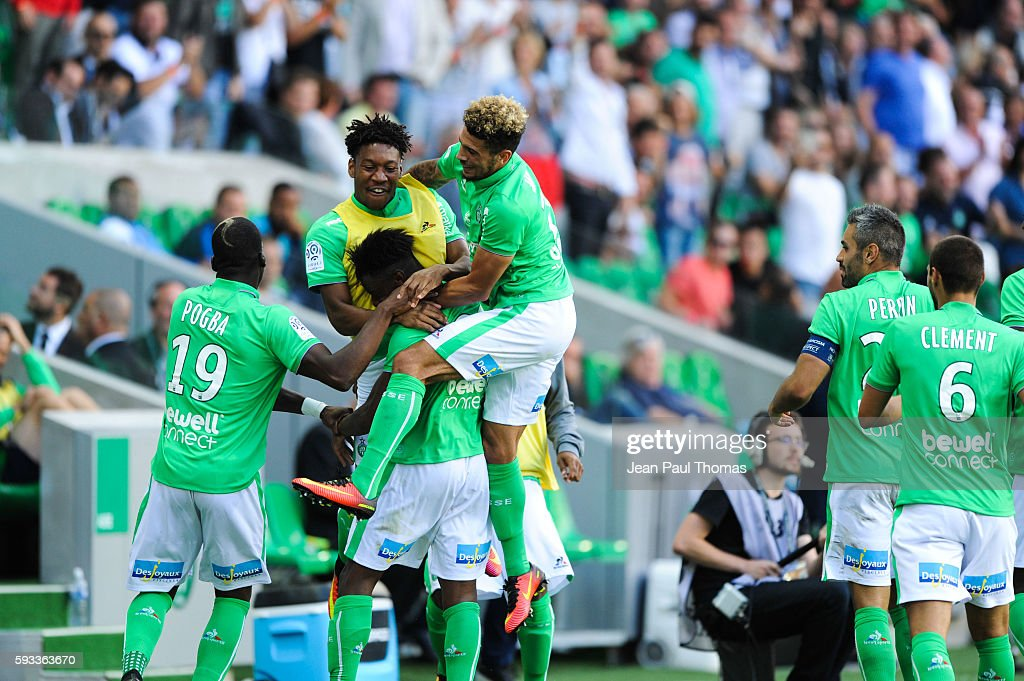 Dylan SAINT LOUIS of Saint Etienne celebrates scoring his goal during the Ligue 1 match between As Saint Etienne and Montpellier Herault at Stade...