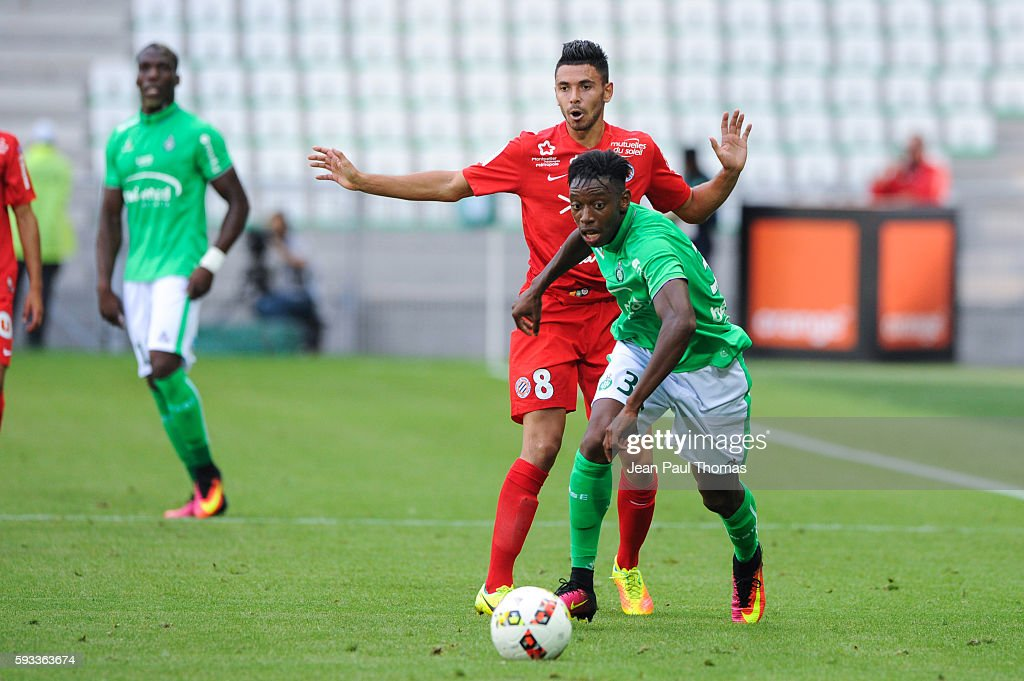 Dylan SAINT LOUIS of Saint Etienne during the Ligue 1 match between As Saint Etienne and Montpellier Herault at Stade GeoffroyGuichard on August 21...