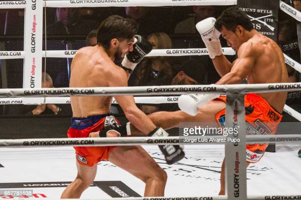 Dylan Salvador of France fight with Sittichai Sitsongpeenong of Thailand during a Lightweight Glory kickboxing title fight at Forest National Arena...