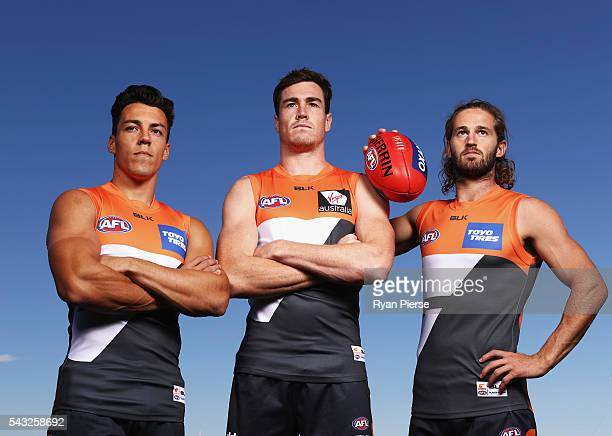 Dylan Shiel Jeremy Cameron and Callan Ward of the Giants pose during a Greater Western Sydney Giants AFL portrait session on May 23 2016 in Sydney...