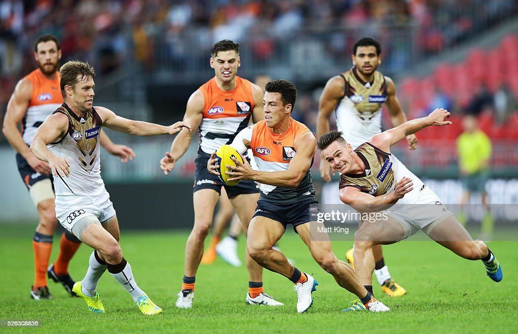 Dylan Shiel of the Giants breaks away during the round six AFL match between the Greater Western Sydney Giants and the Hawthorn Hawks at Spotless Stadium on April 30, 2016 in Sydney, Australia.