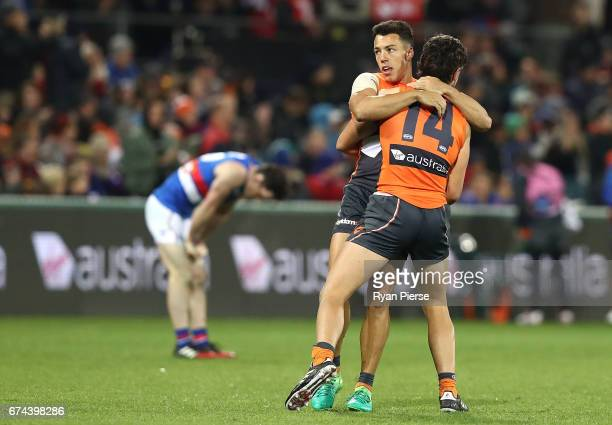 Dylan Shiel of the Giants celebrates victory during the round six AFL match between the Greater Western Sydney Giants and the Western Bulldogs at...
