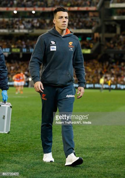 Dylan Shiel of the Giants is seen injured during the 2017 AFL Second Preliminary Final match between the Richmond Tigers and the GWS Giants at the...