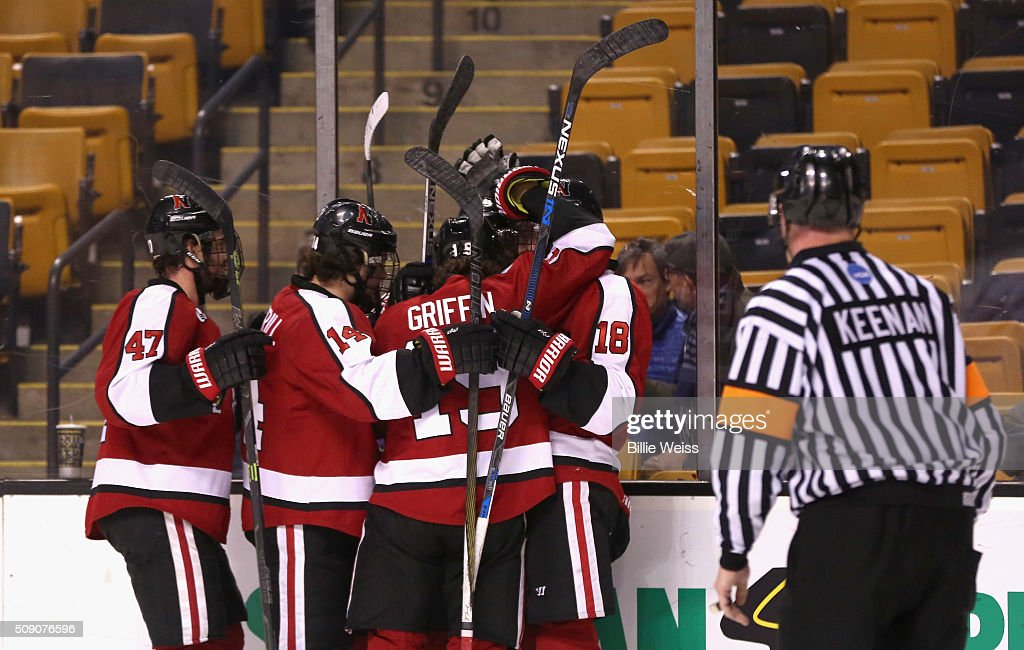 Dylan Sikura #9 of Northeastern University reacts after scoring a goal against Harvard University during the first period of the Beanpot Tournament consolation game at TD Garden on February 8, 2016 in Boston, Massachusetts.