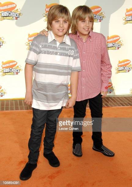 Dylan Sprouse and Cole Sprouse during Nickelodeon's 20th Annual Kids' Choice Awards Arrivals at Pauley Pavilion in Westwood California United States